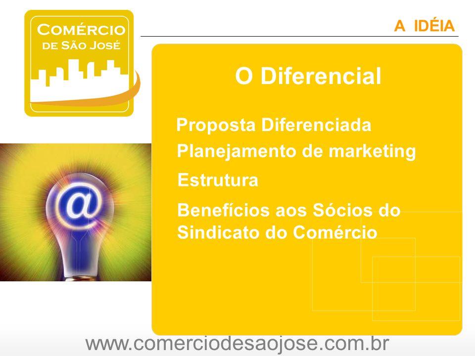 www.comerciodesaojose.com.br A IDÉIA O Diferencial Planejamento de marketing Proposta Diferenciada Estrutura Benefícios aos Sócios do Sindicato do Comércio