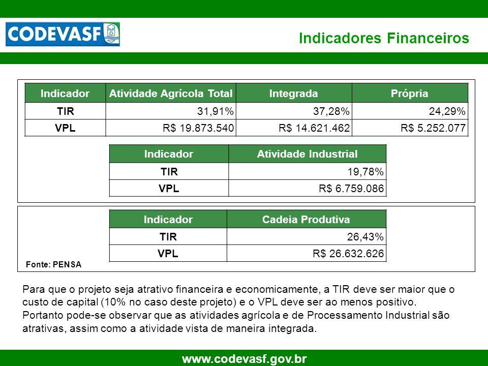18 www.codevasf.gov.br Indicadores Financeiros IndicadorCadeia Produtiva TIR26,43% VPLR$ 26.632.626 IndicadorAtividade Agrícola TotalIntegradaPrópria
