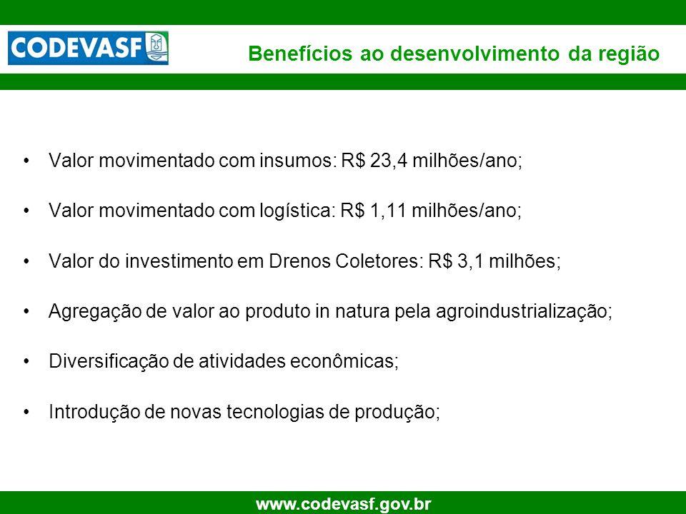 20 www.codevasf.gov.br Valor movimentado com insumos: R$ 23,4 milhões/ano; Valor movimentado com logística: R$ 1,11 milhões/ano; Valor do investimento