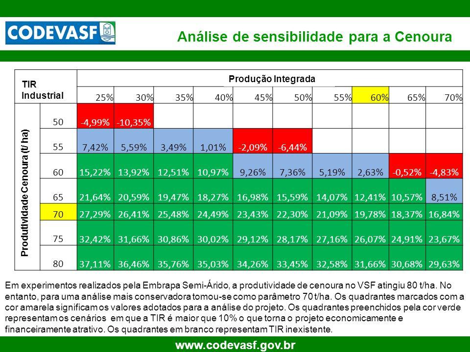 22 www.codevasf.gov.br Análise de sensibilidade para a Cenoura Em experimentos realizados pela Embrapa Semi-Árido, a produtividade de cenoura no VSF a