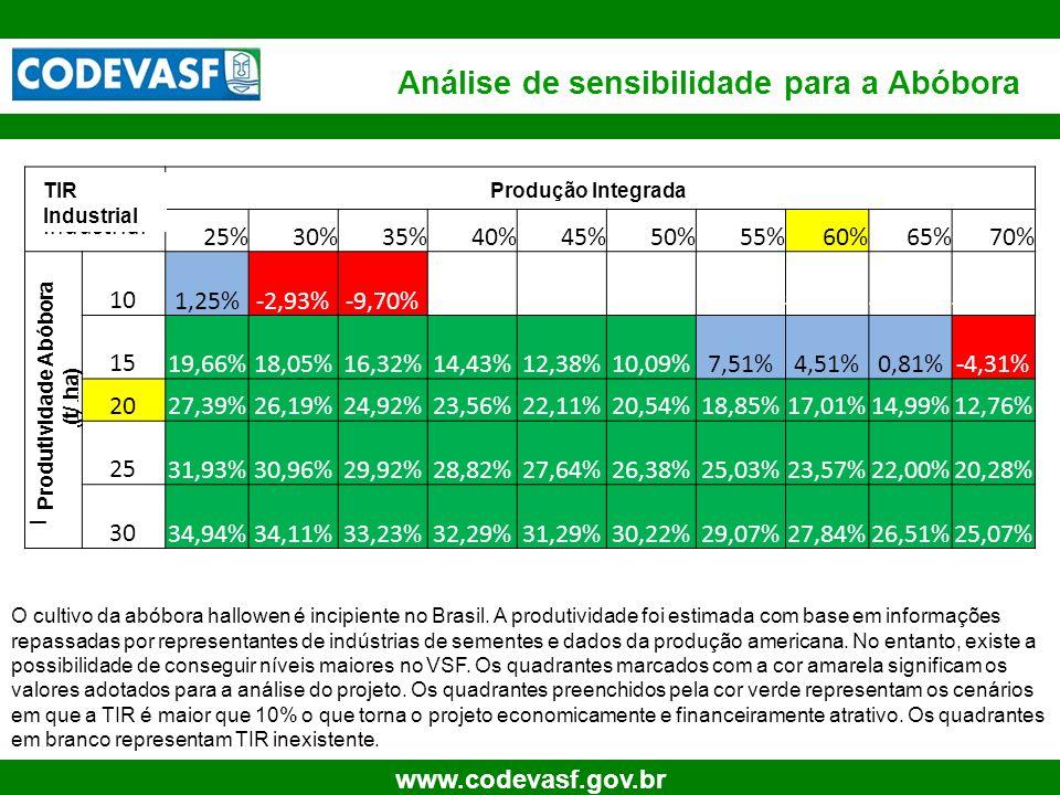 23 www.codevasf.gov.br Análise de sensibilidade para a Abóbora O cultivo da abóbora hallowen é incipiente no Brasil. A produtividade foi estimada com