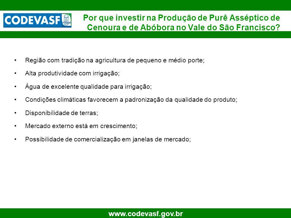 25 www.codevasf.gov.br Região com tradição na agricultura de pequeno e médio porte; Alta produtividade com irrigação; Água de excelente qualidade para