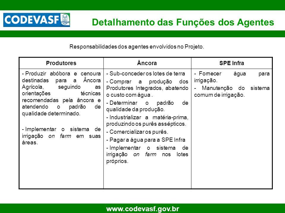 9 www.codevasf.gov.br ProdutoresÂncoraSPE Infra - Produzir abóbora e cenoura destinadas para a Âncora Agrícola, seguindo as orientações técnicas recom