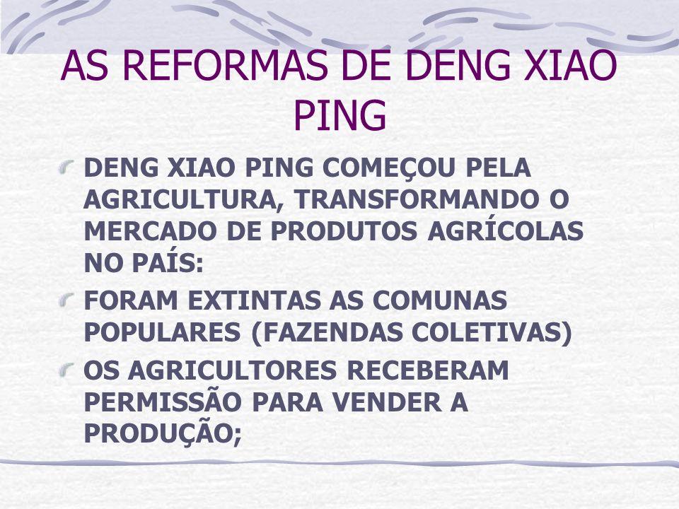 AS REFORMAS DE DENG XIAO PING DENG XIAO PING COMEÇOU PELA AGRICULTURA, TRANSFORMANDO O MERCADO DE PRODUTOS AGRÍCOLAS NO PAÍS: FORAM EXTINTAS AS COMUNA