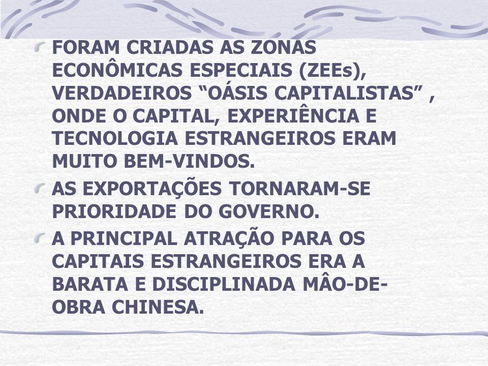 FORAM CRIADAS AS ZONAS ECONÔMICAS ESPECIAIS (ZEEs), VERDADEIROS OÁSIS CAPITALISTAS, ONDE O CAPITAL, EXPERIÊNCIA E TECNOLOGIA ESTRANGEIROS ERAM MUITO B