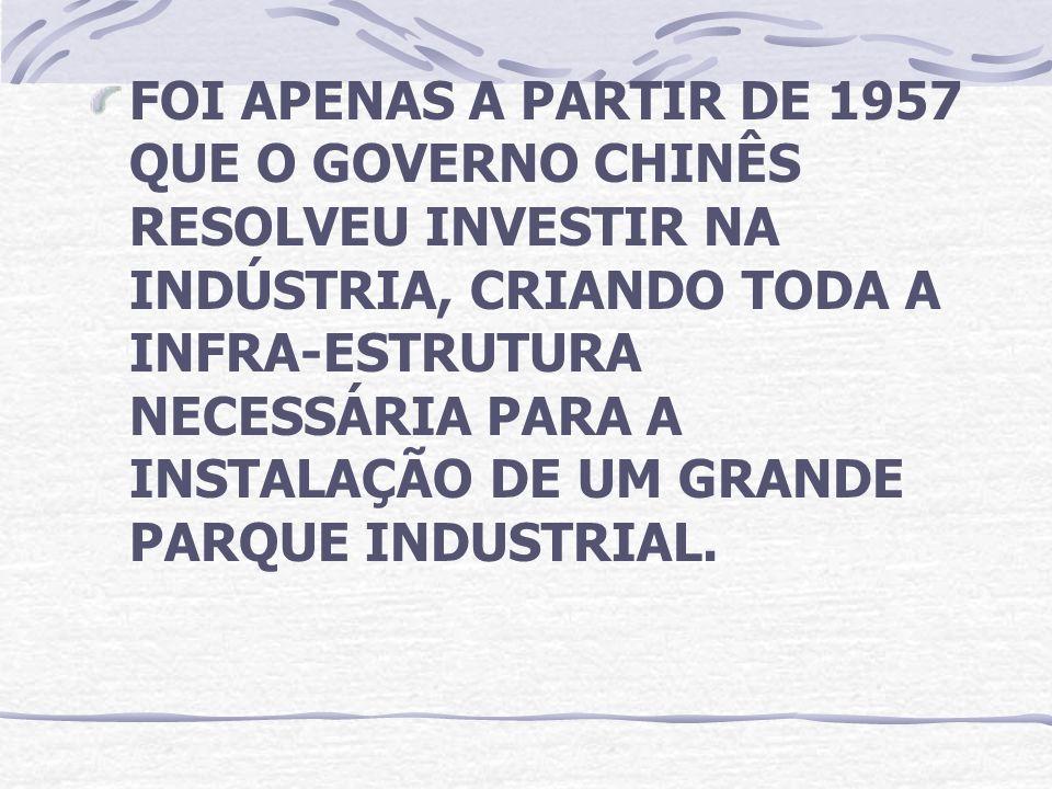 FOI APENAS A PARTIR DE 1957 QUE O GOVERNO CHINÊS RESOLVEU INVESTIR NA INDÚSTRIA, CRIANDO TODA A INFRA-ESTRUTURA NECESSÁRIA PARA A INSTALAÇÃO DE UM GRA