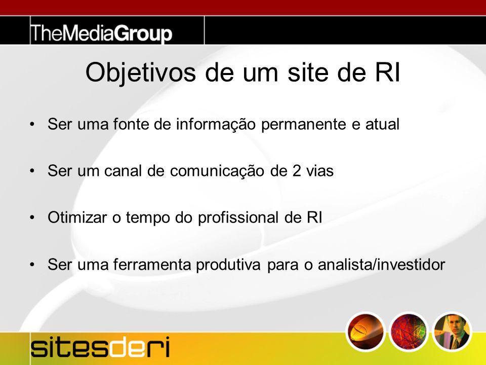 Objetivos de um site de RI Ser uma fonte de informação permanente e atual Ser um canal de comunicação de 2 vias Otimizar o tempo do profissional de RI Ser uma ferramenta produtiva para o analista/investidor