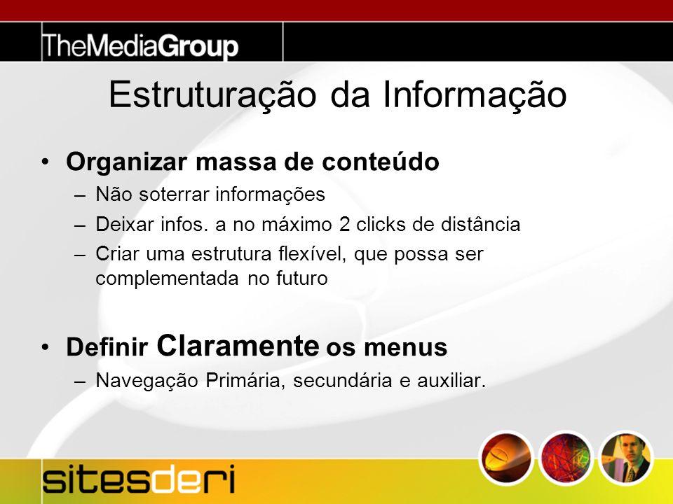 Estruturação da Informação Organizar massa de conteúdo –Não soterrar informações –Deixar infos.