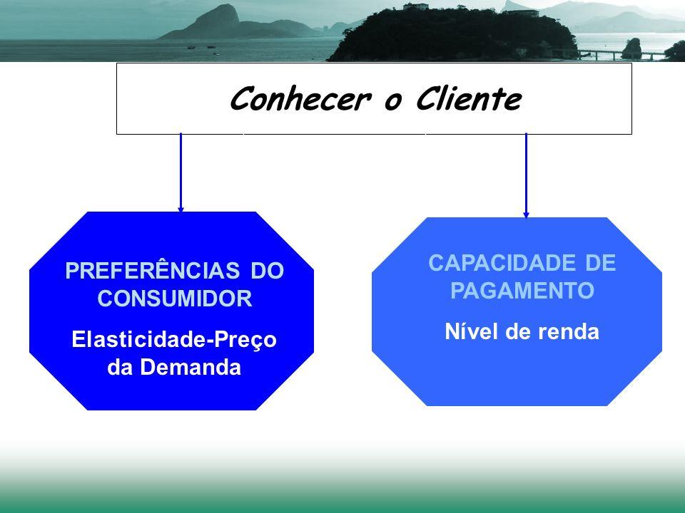 Conhecer o Cliente PREFERÊNCIAS DO CONSUMIDOR Elasticidade-Preço da Demanda CAPACIDADE DE PAGAMENTO Nível de renda