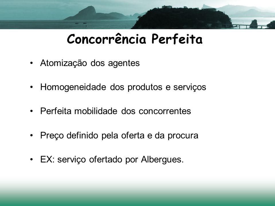 Concorrência Perfeita Atomização dos agentes Homogeneidade dos produtos e serviços Perfeita mobilidade dos concorrentes Preço definido pela oferta e da procura EX: serviço ofertado por Albergues.