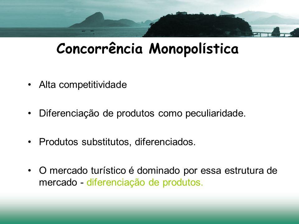 Concorrência Monopol í stica Alta competitividade Diferenciação de produtos como peculiaridade. Produtos substitutos, diferenciados. O mercado turísti