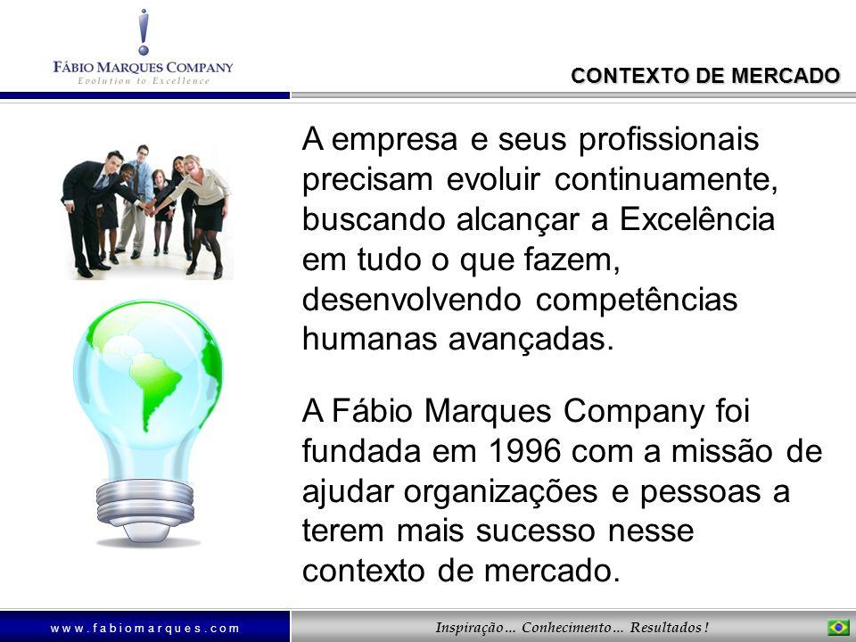w w w. f a b i o m a r q u e s. c o m Inspiração… Conhecimento… Resultados ! CONTEXTO DE MERCADO A empresa e seus profissionais precisam evoluir conti
