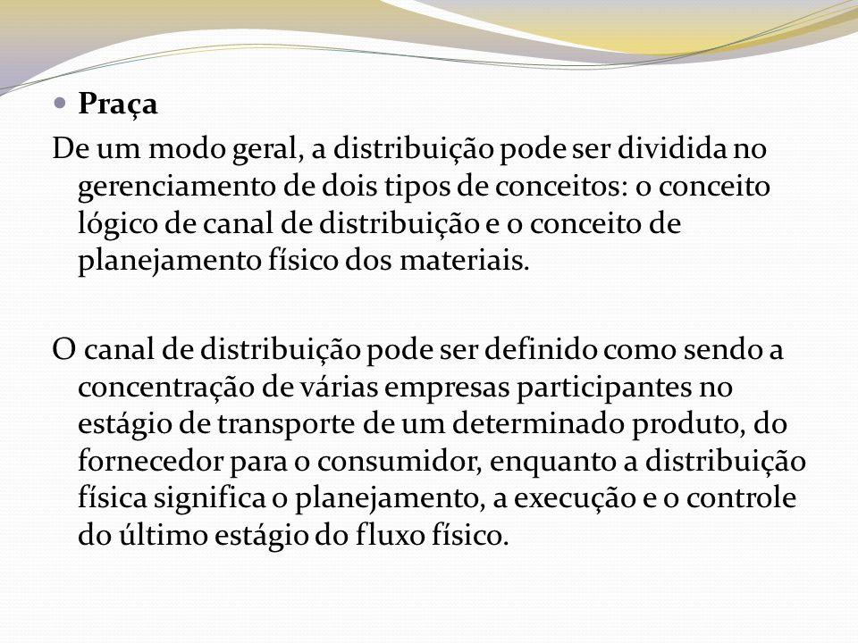 Praça De um modo geral, a distribuição pode ser dividida no gerenciamento de dois tipos de conceitos: o conceito lógico de canal de distribuição e o c