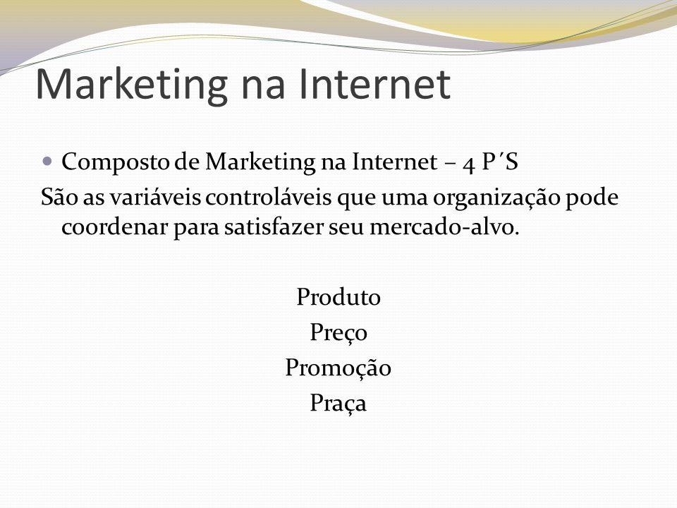 Marketing na Internet Composto de Marketing na Internet – 4 P´S São as variáveis controláveis que uma organização pode coordenar para satisfazer seu m