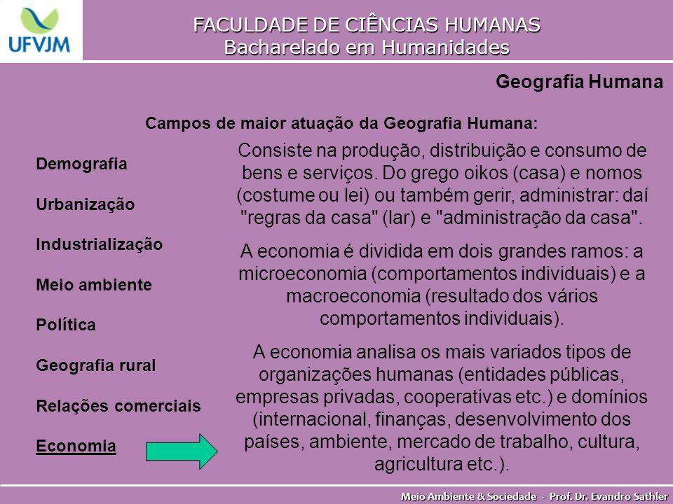 FACULDADE DE CIÊNCIAS HUMANAS Bacharelado em Humanidades Meio Ambiente & Sociedade - Prof. Dr. Evandro Sathler Geografia Humana Campos de maior atuaçã