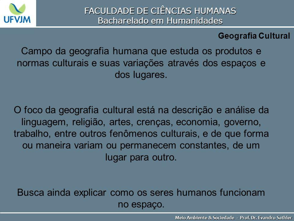 FACULDADE DE CIÊNCIAS HUMANAS Bacharelado em Humanidades Meio Ambiente & Sociedade - Prof. Dr. Evandro Sathler Geografia Cultural Campo da geografia h