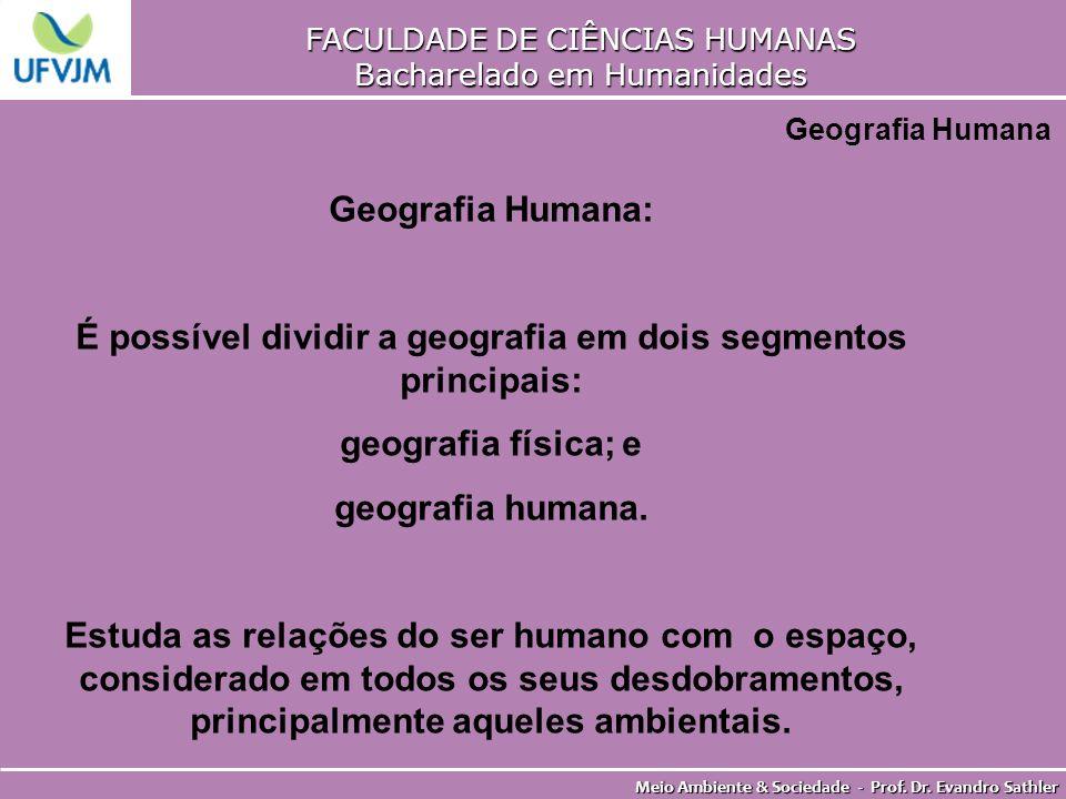 FACULDADE DE CIÊNCIAS HUMANAS Bacharelado em Humanidades Meio Ambiente & Sociedade - Prof. Dr. Evandro Sathler Geografia Humana Geografia Humana: É po
