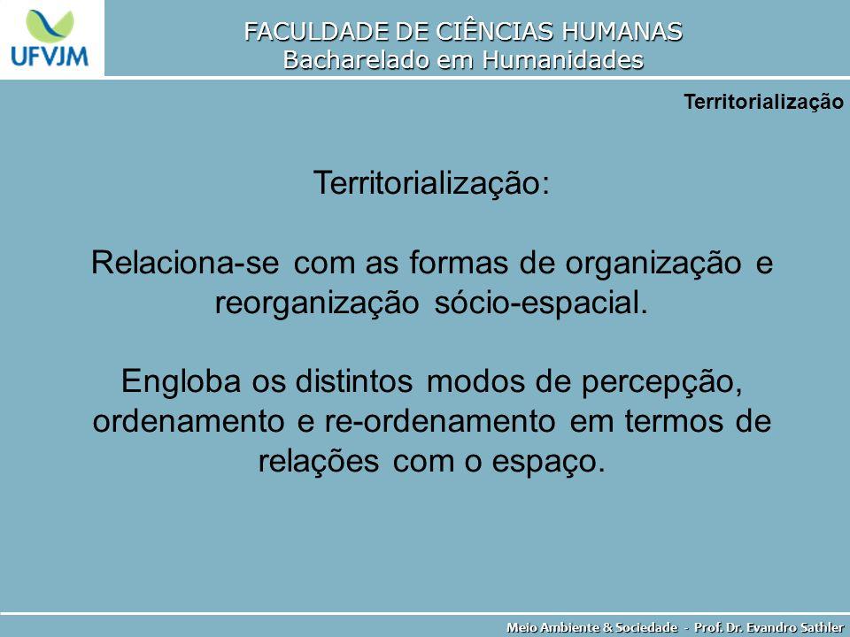 FACULDADE DE CIÊNCIAS HUMANAS Bacharelado em Humanidades Meio Ambiente & Sociedade - Prof. Dr. Evandro Sathler Territorialização Territorialização: Re