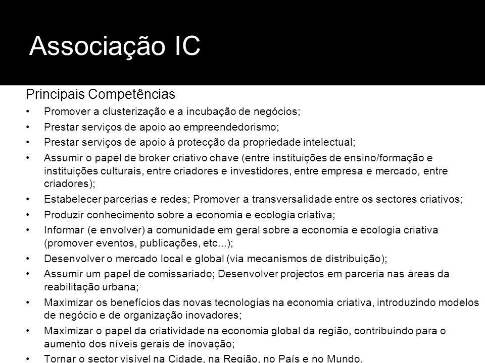 Associação IC Principais Competências Promover a clusterização e a incubação de negócios; Prestar serviços de apoio ao empreendedorismo; Prestar servi