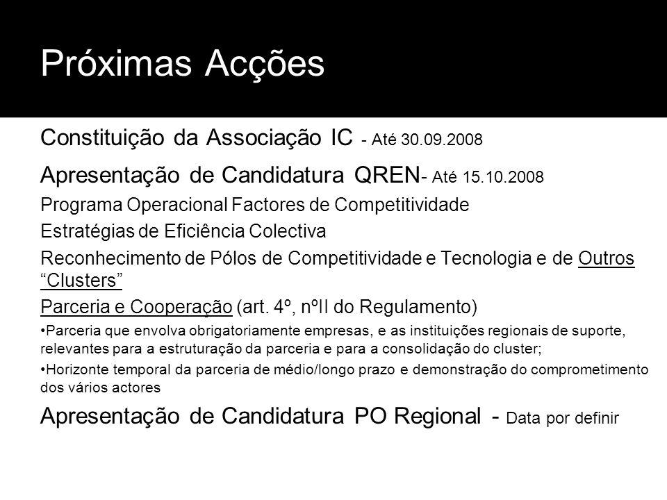 Próximas Acções Constituição da Associação IC - Até 30.09.2008 Apresentação de Candidatura QREN - Até 15.10.2008 Programa Operacional Factores de Comp
