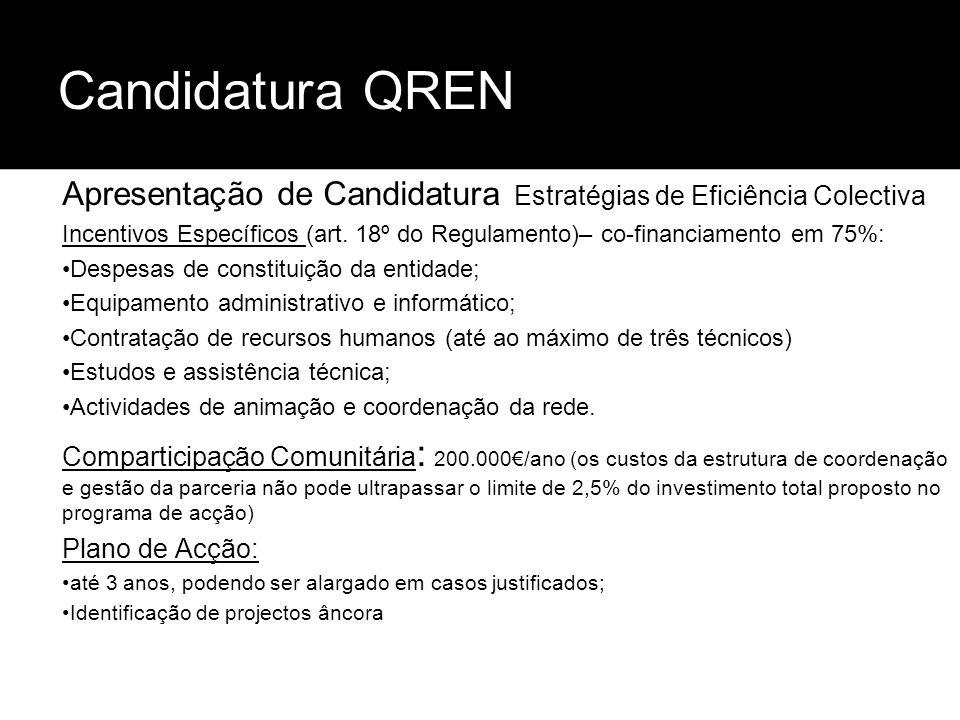 Candidatura QREN Apresentação de Candidatura Estratégias de Eficiência Colectiva Incentivos Específicos (art. 18º do Regulamento)– co-financiamento em