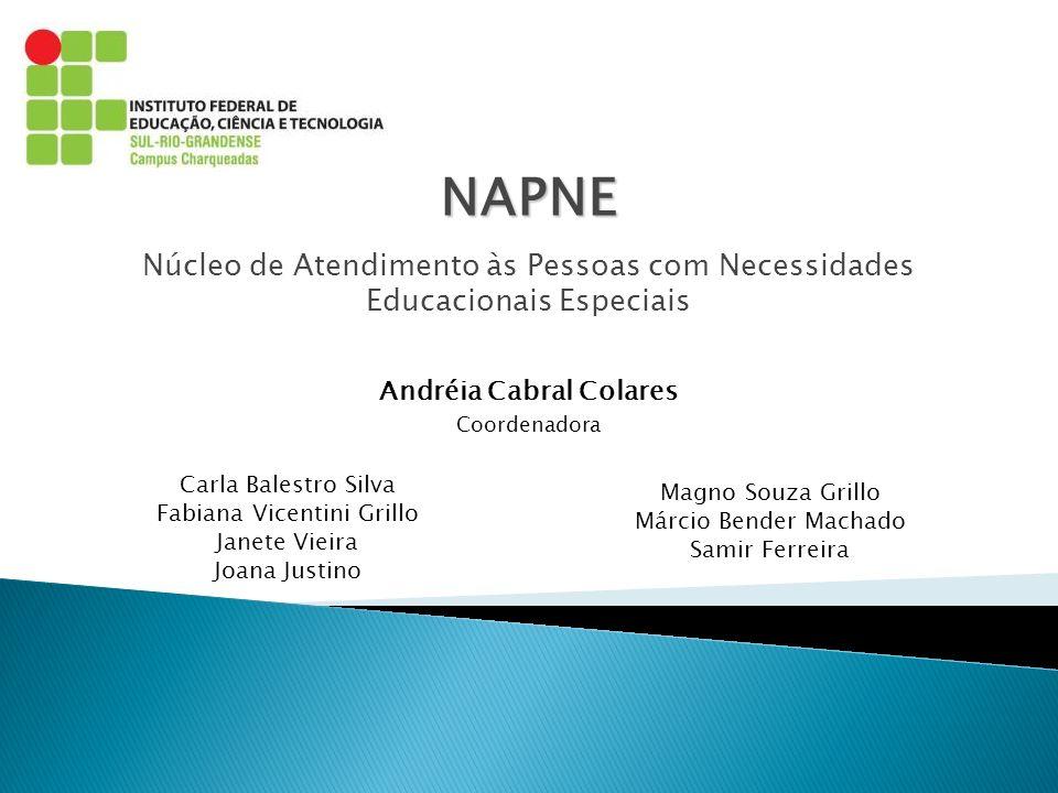 Andréia Cabral Colares Coordenadora NAPNE Núcleo de Atendimento às Pessoas com Necessidades Educacionais Especiais Carla Balestro Silva Fabiana Vicent
