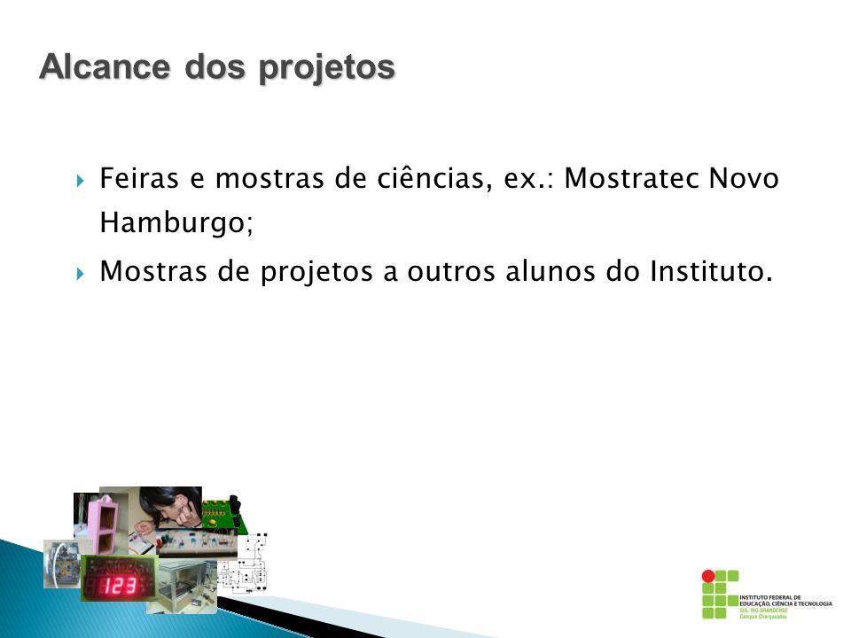 Feiras e mostras de ciências, ex.: Mostratec Novo Hamburgo; Mostras de projetos a outros alunos do Instituto. Alcance dos projetos