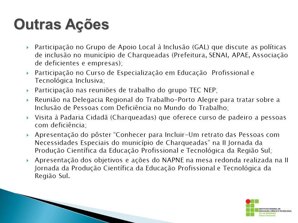 Participação no Grupo de Apoio Local à Inclusão (GAL) que discute as políticas de inclusão no município de Charqueadas (Prefeitura, SENAI, APAE, Assoc
