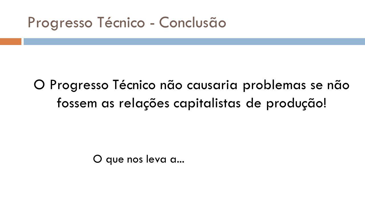 Progresso Técnico - Conclusão O Progresso Técnico não causaria problemas se não fossem as relações capitalistas de produção! O que nos leva a...