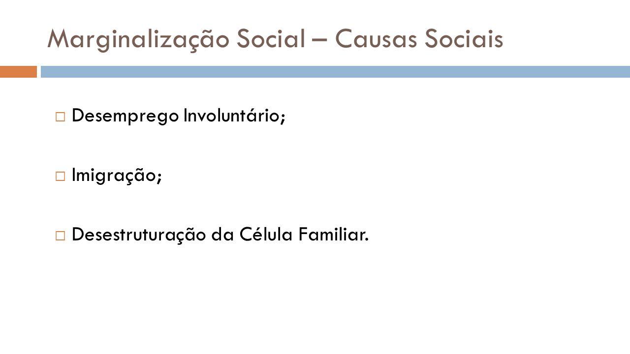 Marginalização Social – Causas Sociais Desemprego Involuntário; Imigração; Desestruturação da Célula Familiar.