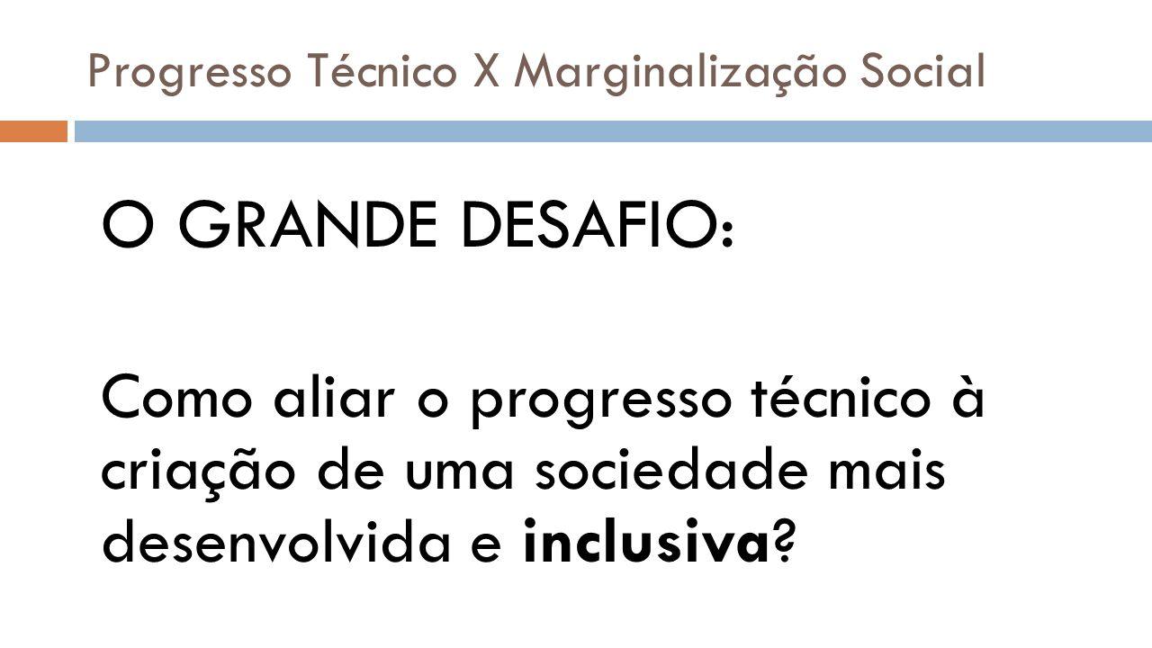 Progresso Técnico X Marginalização Social O GRANDE DESAFIO: Como aliar o progresso técnico à criação de uma sociedade mais desenvolvida e inclusiva?