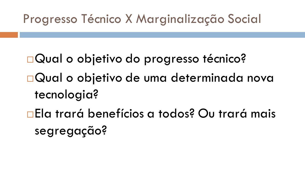 Progresso Técnico X Marginalização Social Qual o objetivo do progresso técnico? Qual o objetivo de uma determinada nova tecnologia? Ela trará benefíci
