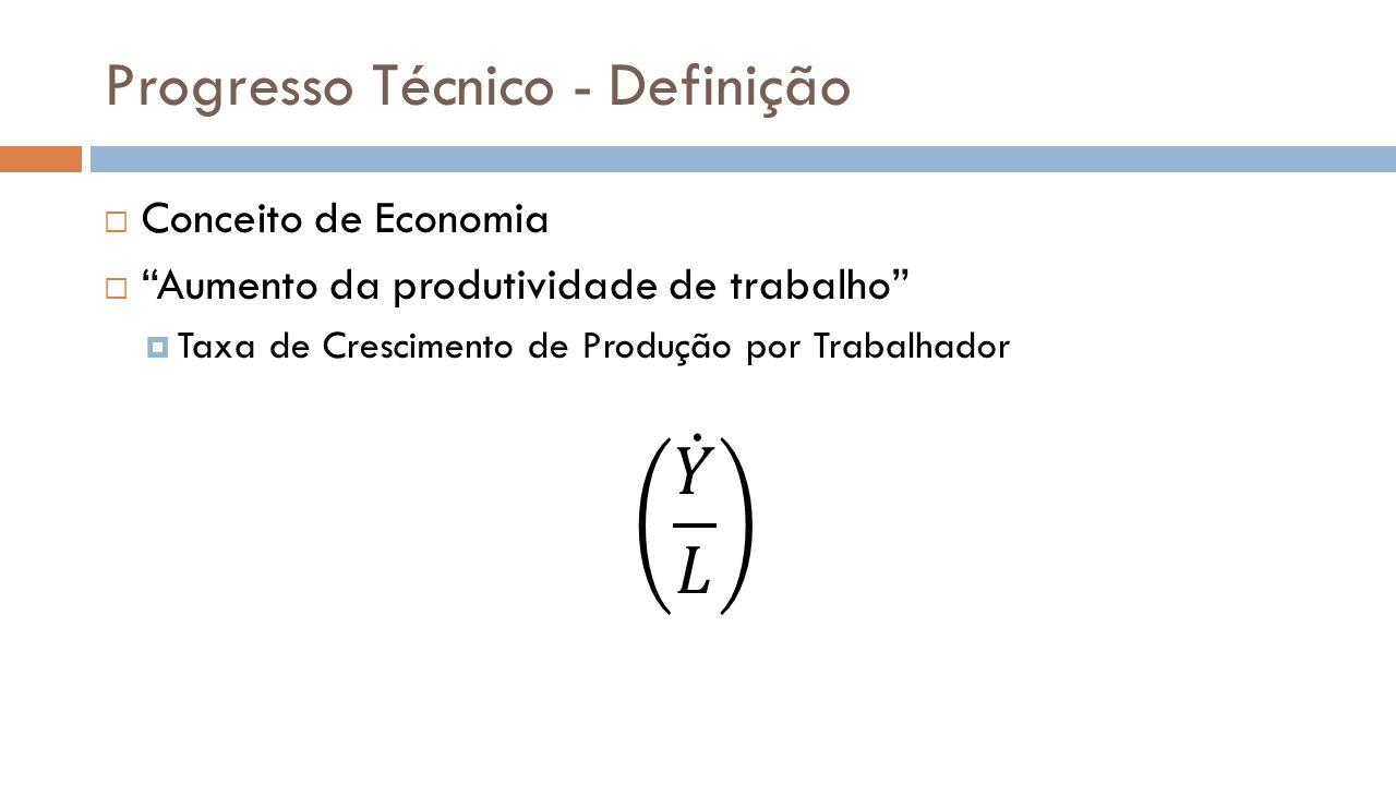 Progresso Técnico É o responsável por todo o avanço tecnológico da sociedade, desde a Revolução Industrial.