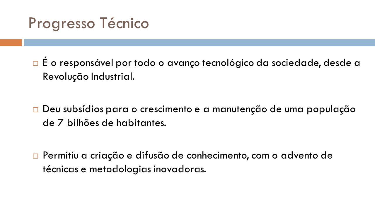 Progresso Técnico É o responsável por todo o avanço tecnológico da sociedade, desde a Revolução Industrial. Deu subsídios para o crescimento e a manut