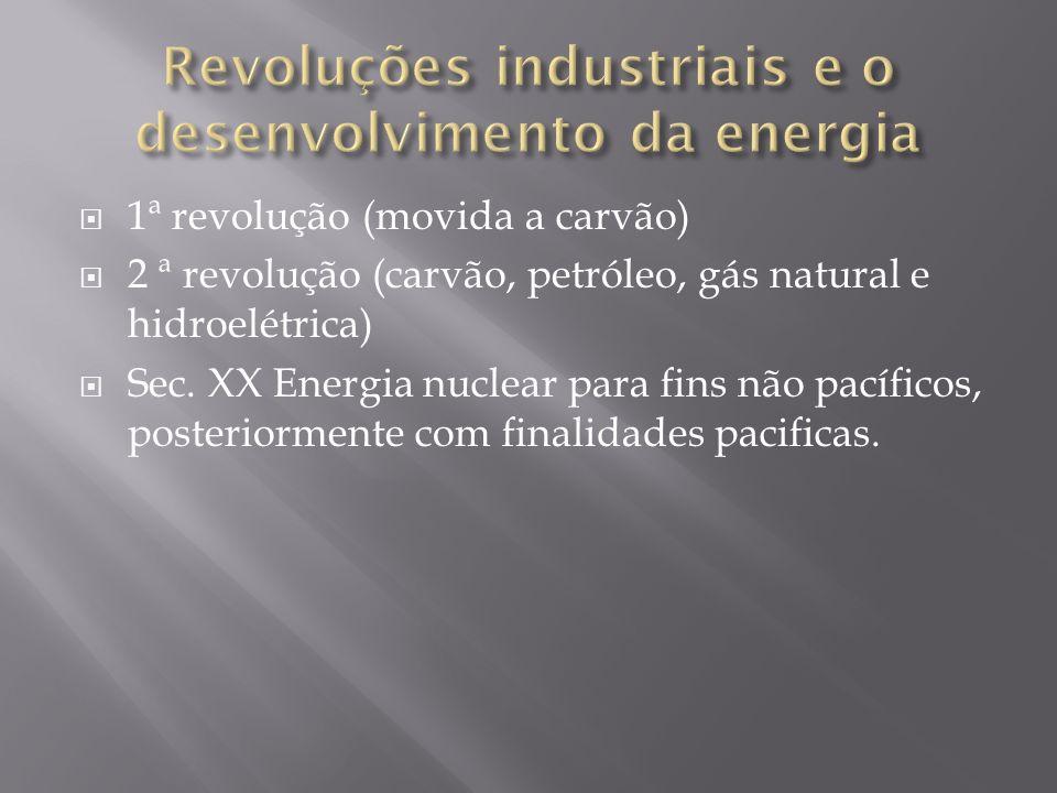 1ª revolução (movida a carvão) 2 ª revolução (carvão, petróleo, gás natural e hidroelétrica) Sec. XX Energia nuclear para fins não pacíficos, posterio