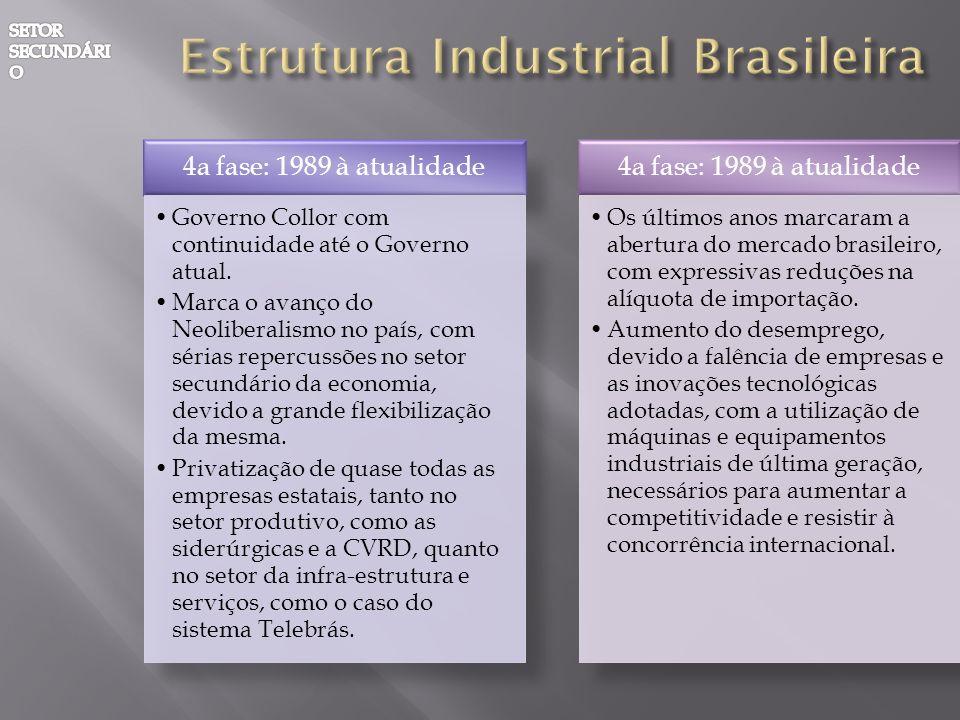 4a fase: 1989 à atualidade Governo Collor com continuidade até o Governo atual. Marca o avanço do Neoliberalismo no país, com sérias repercussões no s