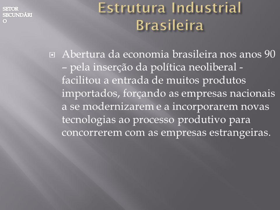 Abertura da economia brasileira nos anos 90 – pela inserção da política neoliberal - facilitou a entrada de muitos produtos importados, forçando as em