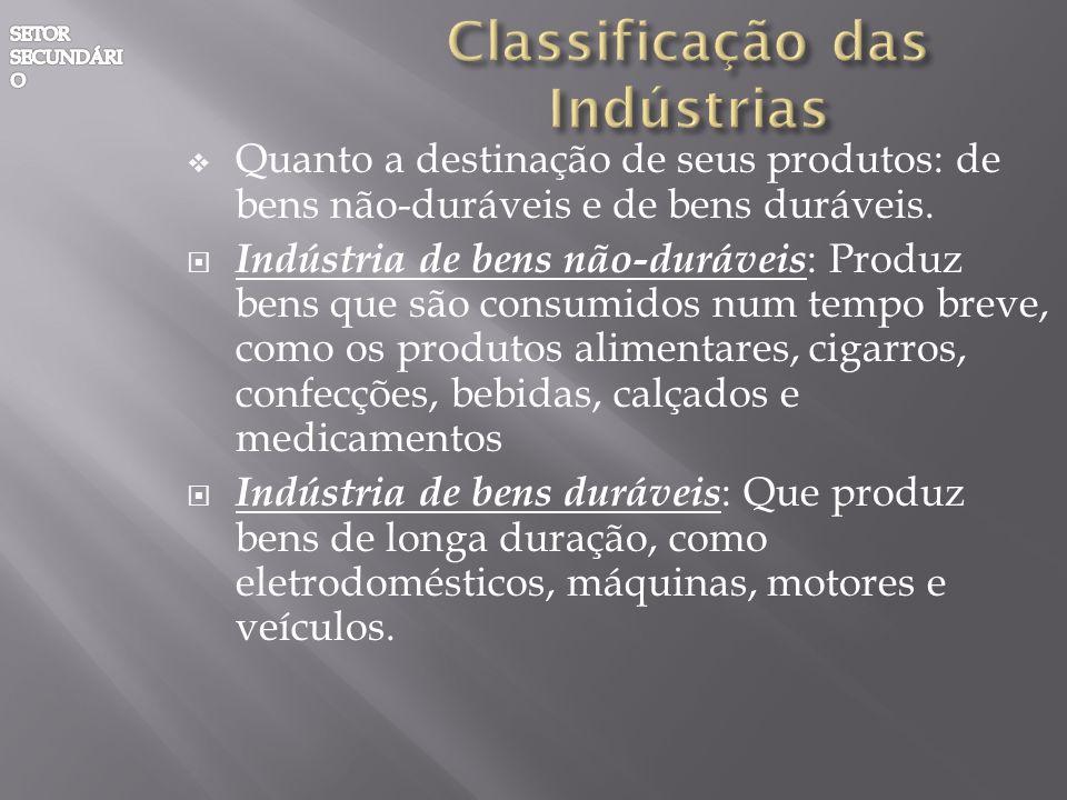 Quanto a destinação de seus produtos: de bens não-duráveis e de bens duráveis. Indústria de bens não-duráveis : Produz bens que são consumidos num tem