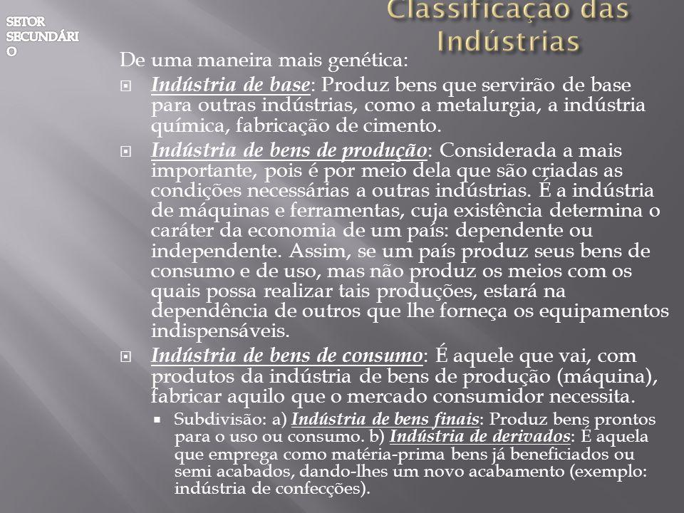 De uma maneira mais genética: Indústria de base : Produz bens que servirão de base para outras indústrias, como a metalurgia, a indústria química, fab