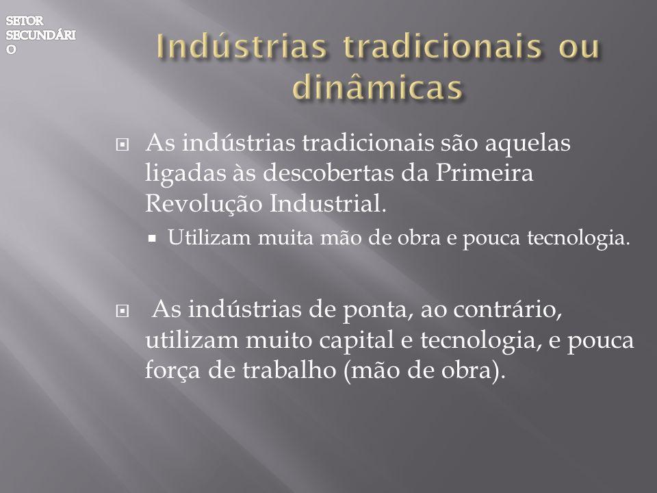 As indústrias tradicionais são aquelas ligadas às descobertas da Primeira Revolução Industrial. Utilizam muita mão de obra e pouca tecnologia. As indú