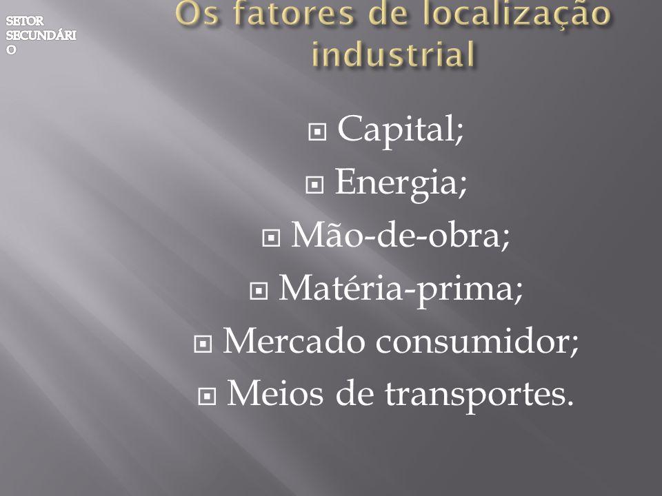 Capital; Energia; Mão-de-obra; Matéria-prima; Mercado consumidor; Meios de transportes.