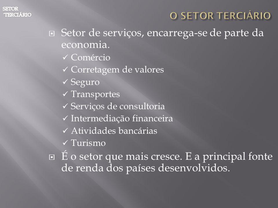Setor de serviços, encarrega-se de parte da economia. Comércio Corretagem de valores Seguro Transportes Serviços de consultoria Intermediação financei