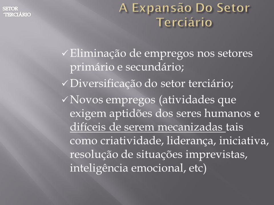 Eliminação de empregos nos setores primário e secundário; Diversificação do setor terciário; Novos empregos (atividades que exigem aptidões dos seres