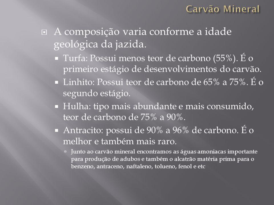 A composição varia conforme a idade geológica da jazida. Turfa: Possui menos teor de carbono (55%). É o primeiro estágio de desenvolvimentos do carvão