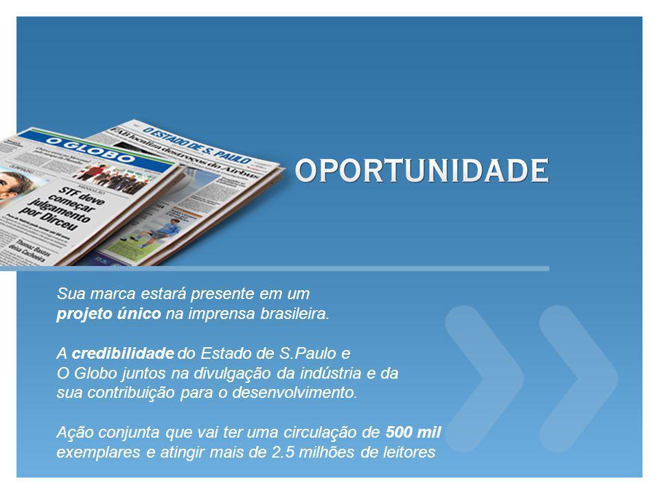 Sua marca estará presente em um projeto único na imprensa brasileira. A credibilidade do Estado de S.Paulo e O Globo juntos na divulgação da indústria
