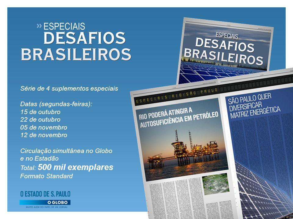 Série de 4 suplementos especiais Datas (segundas-feiras): 15 de outubro 22 de outubro 05 de novembro 12 de novembro Circulação simultânea no Globo e n