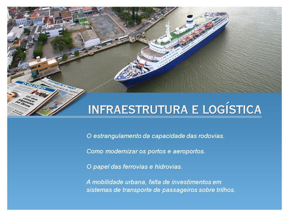O estrangulamento da capacidade das rodovias. Como modernizar os portos e aeroportos. O papel das ferrovias e hidrovias. A mobilidade urbana, falta de