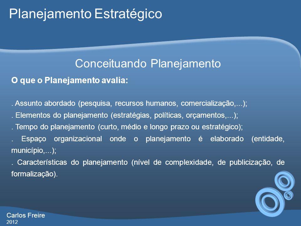 Carlos Freire 2012 Conceituando Planejamento O que o Planejamento avalia:.