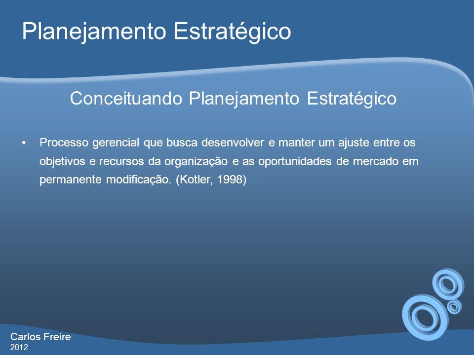 Carlos Freire 2012 Planejamento Estratégico Processo gerencial que busca desenvolver e manter um ajuste entre os objetivos e recursos da organização e as oportunidades de mercado em permanente modificação.
