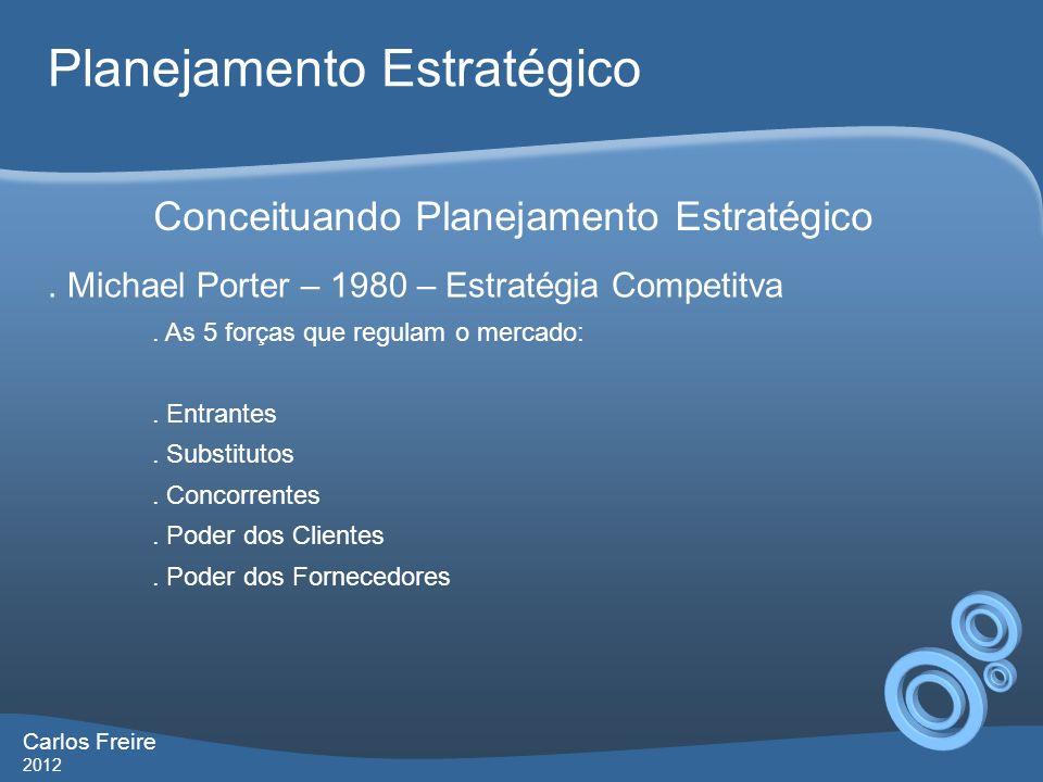 Carlos Freire 2012 Planejamento Estratégico.Michael Porter – 1980 – Estratégia Competitva.